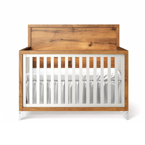 Romina Pandora Collection Convertible Crib with Oak Panel Headboard in Solid White