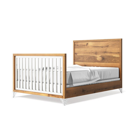 Romina Pandora Collection Full Bed with Oak Headboard in Solid White