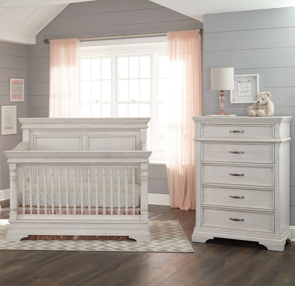 Stella Baby and Child Kerrigan 2 Piece Nursery Set in Rustic White - Crib and 5 Drawer