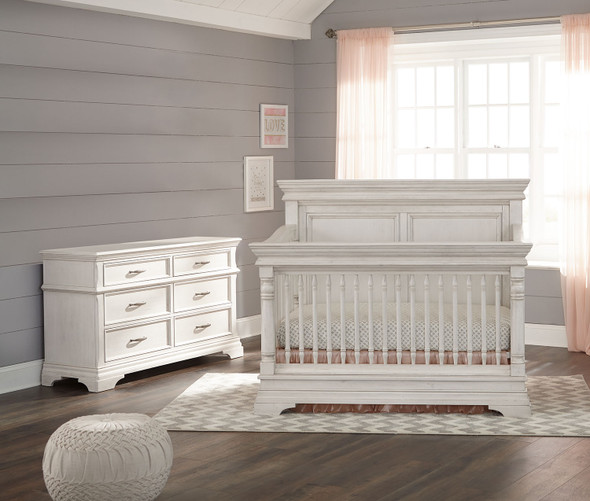 Stella Baby and Child Kerrigan 2 Piece Nursery Set in Rustic White - Crib and 6 Drawer