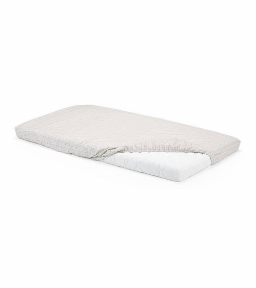 Stokke Home Bed Fitted Sheet in White/Beige Check- 2pc Set