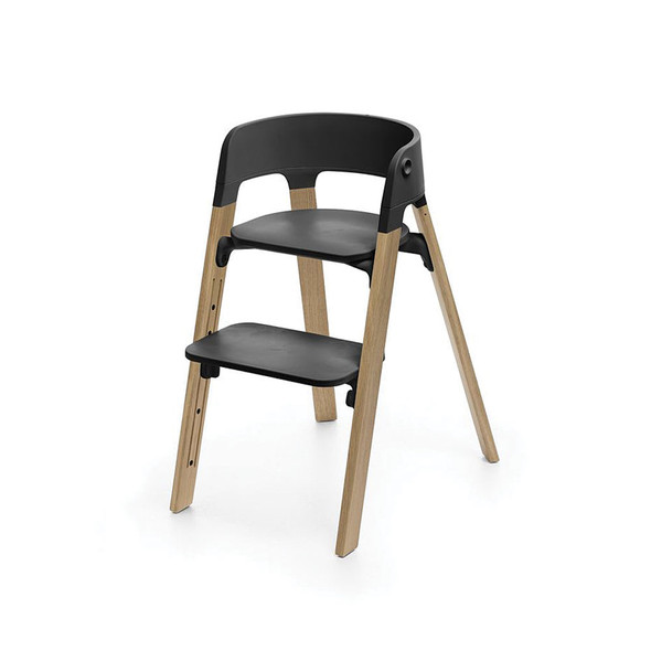 Stokke Steps Chair in Natural Oak Legs with Black Seat