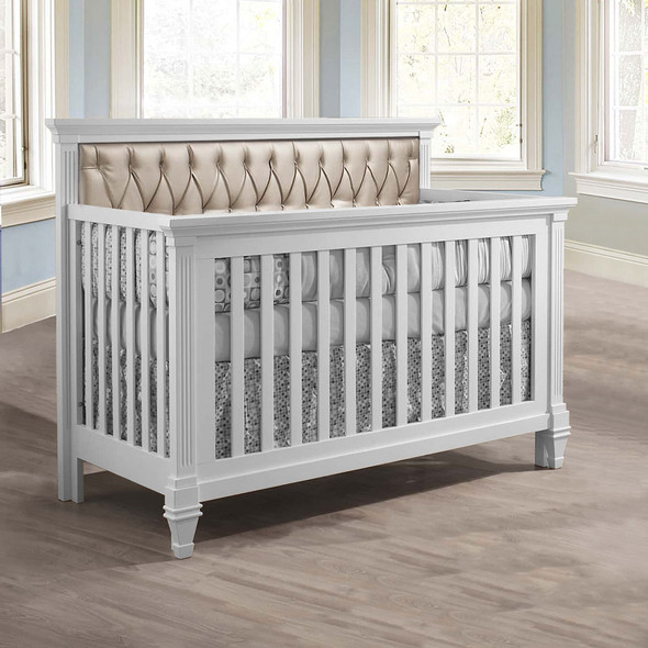 Natart Belmont Convertible Crib in White with Platinum Tufted Panel