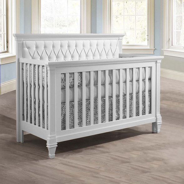 Natart Belmont Convertible Crib in White with White Tufted Panel