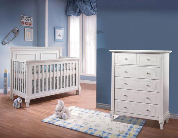 Natart Belmont 2 Piece Nursery Set Crib and 5 Drawer Dresser in Pure White