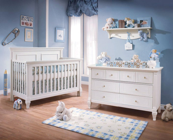 Natart Belmont 2 Piece Nursery Set Crib and Double Dresser in Pure White