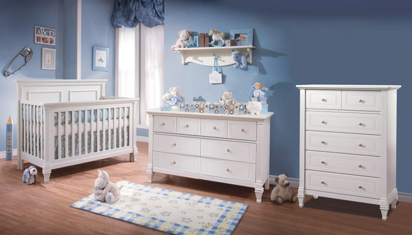 Natart Belmont 3 Piece Nursery Set in Pure White