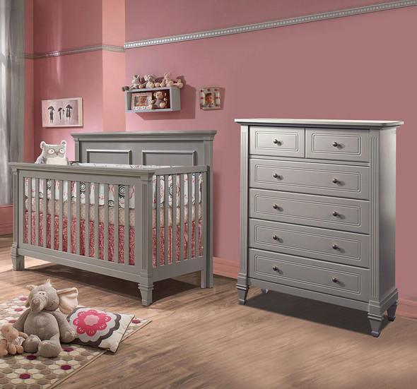 Natart Belmont 2 Piece Nursery Set in Elephant Grey-Crib and 5 Drawer Dresser