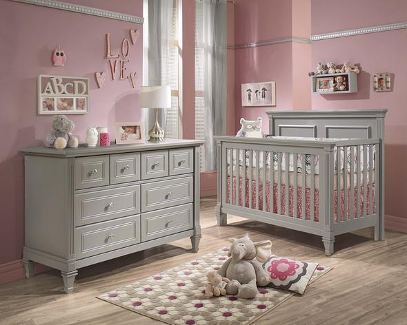 Natart Belmont 2 Piece Nursery Set in Elephant Grey-Crib and Double Dresser