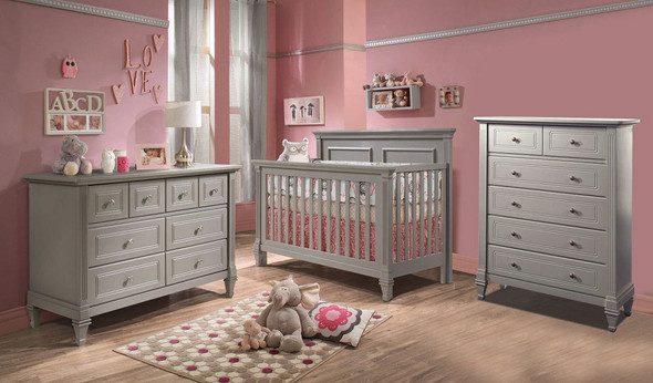 Natart Belmont 3 Piece Nursery Set in Elephant Grey - Crib, Double Dresser, and 5 Drawer Dresser