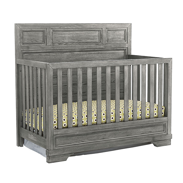 Westwood Foundry 2 Piece Nursery Set - Crib and 6 Drawer in Brushed Pewter