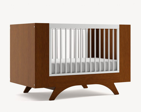 Dutailier Melon Crib - Front and Back in Walnut