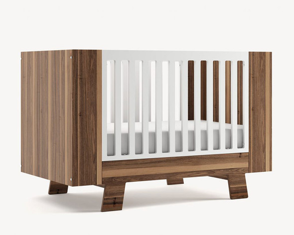 Dutailier Pomelo Crib - Front and Back in Walnut