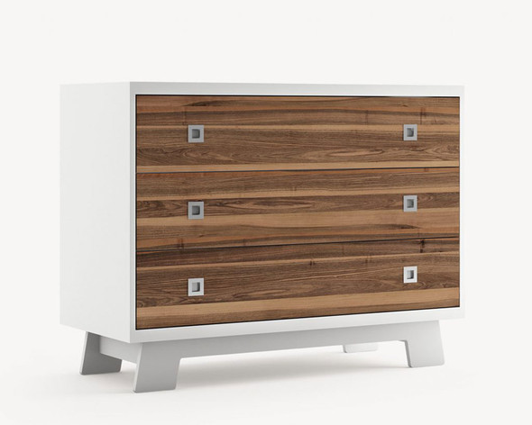 Dutailier Pomelo 3 Drawer Dresser - Front and Back in Walnut