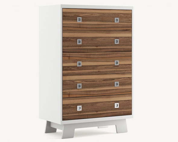 Dutailier Pomelo 5 Drawer Dresser - Front and Back in Walnut