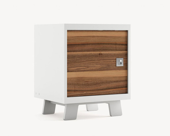 Dutailier Pomelo Night Stand - Front and Back in Walnut