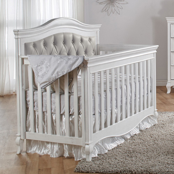 Pali Diamante Collection Forever Crib in Vintage White with Grey Leather Panel