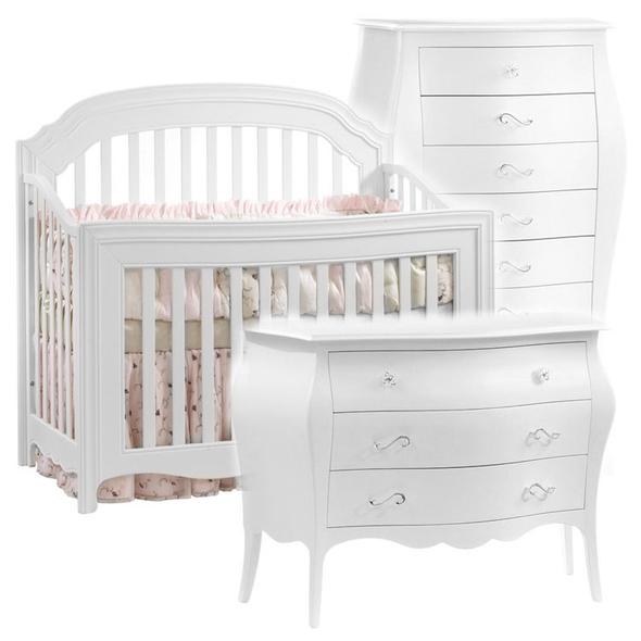 Natart Allegra 3 Piece Nursery Set in White - Crib, 3 Drawer Dresser, and Lingerie Chest