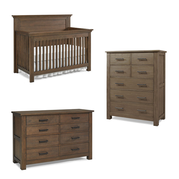Dolce Babi Lucca 3 Piece Nursery Set with Flat Top Crib in Weathered Brown