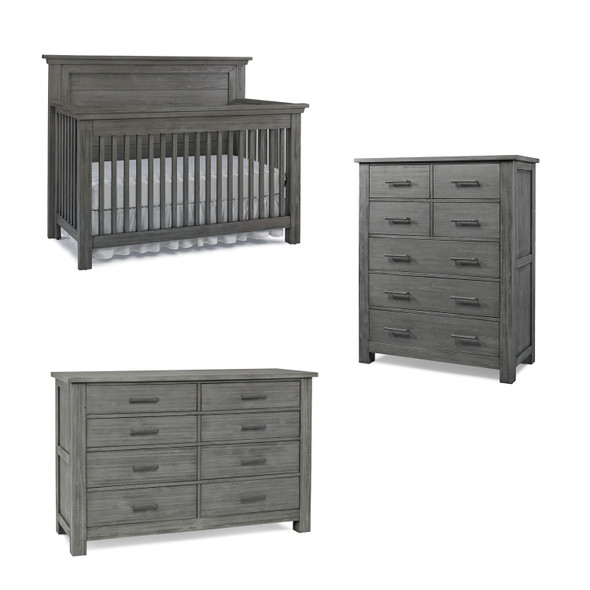 Dolce Babi Lucca 3 Piece Nursery Set with Flat Top Crib in Weathered Grey