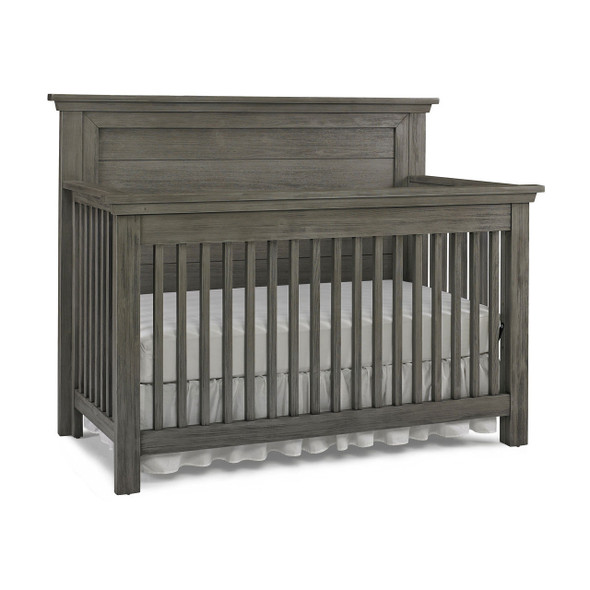 Dolce Babi Lucca 2 Piece Nursery Set Flat Top Crib and 7 Drawer Dresser in Weathered Grey