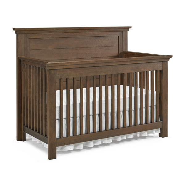 Dolce Babi Lucca 2 Piece Nursery Set Flat Top Crib and Double Dresser in Weathered Brown