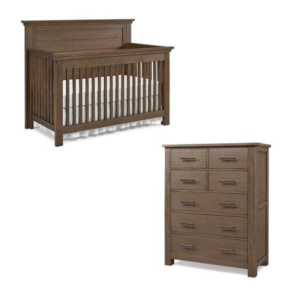 Dolce Babi Lucca 2 Piece Nursery Set Flat Top Crib and 7 Drawer Dresser in Weathered Brown