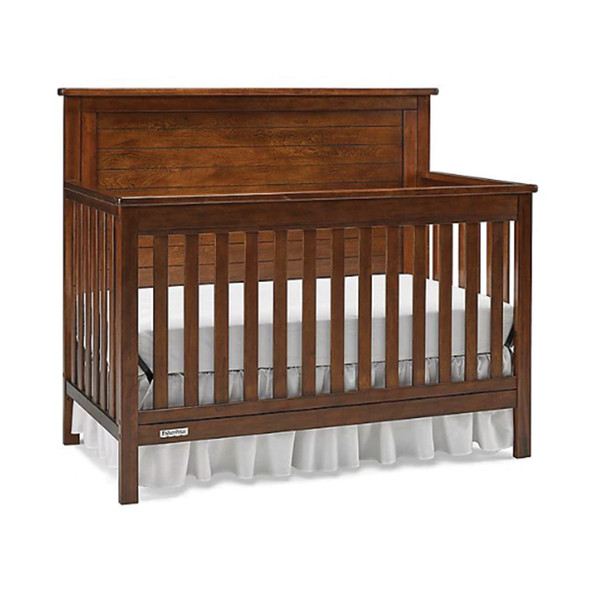 Fisher Price Quinn Full Panel Convertible Crib in Rustic Brown
