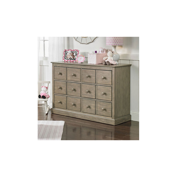 Fisher Price Signature Faux Multi-Drawer RTA Double Dresser in Vintage Grey