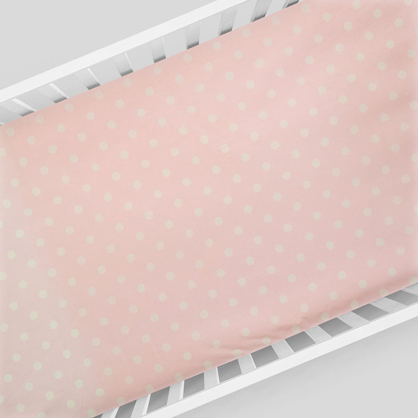 Glenna Jean Charlotte Fitted Sheet in Pink Dot