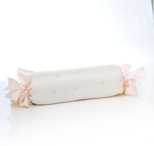 Glenna Jean Charlotte Roll Pillow in Pink Dot Embroidery