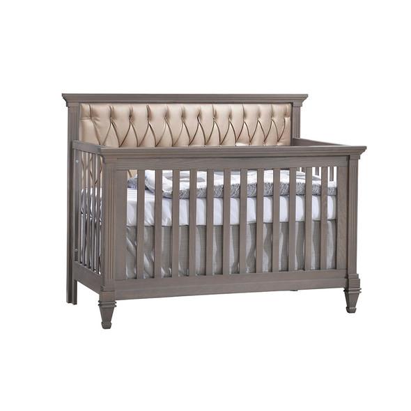 Natart Belmont Convertible Crib in Grigio with Platinum Tufted Panel