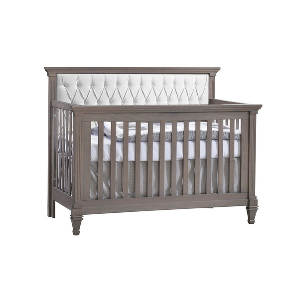 Natart Belmont Convertible Crib in Grigio with White Tufted Panel