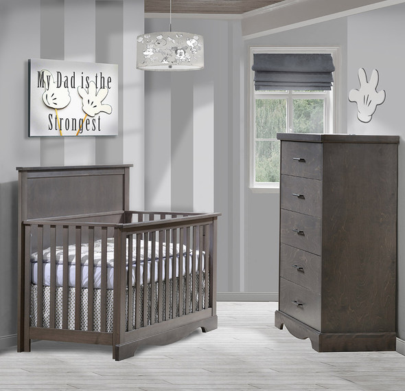 NEST Matisse Collection 2 Piece Nursery Set Crib and 5 Drawer Dresser in Grigio