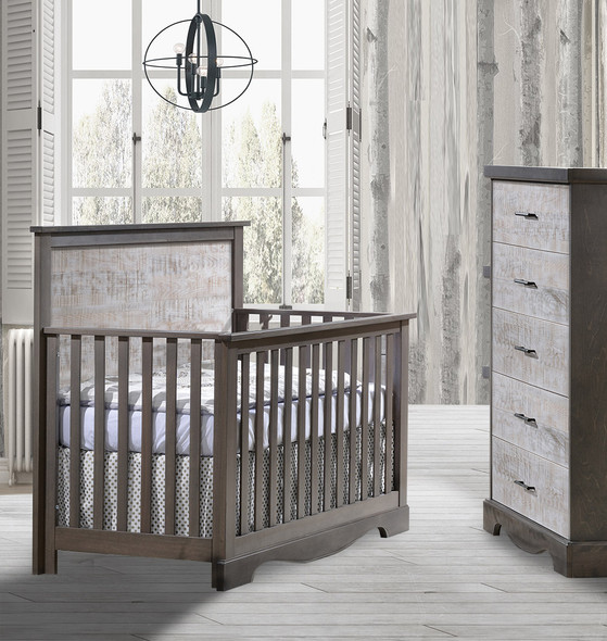 NEST Matisse Collection 2 Piece Nursery Set Crib and 5 Drawer Dresser in Grigio and White Bark