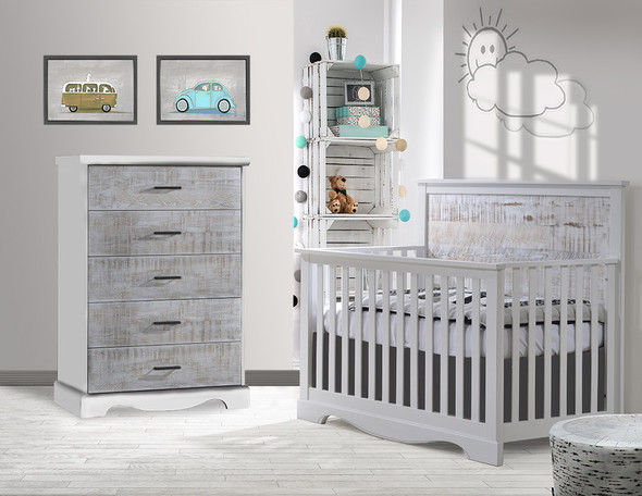NEST Matisse Collection 2 Piece Nursery Set Crib and 5 Drawer Dresser in White and White Bark