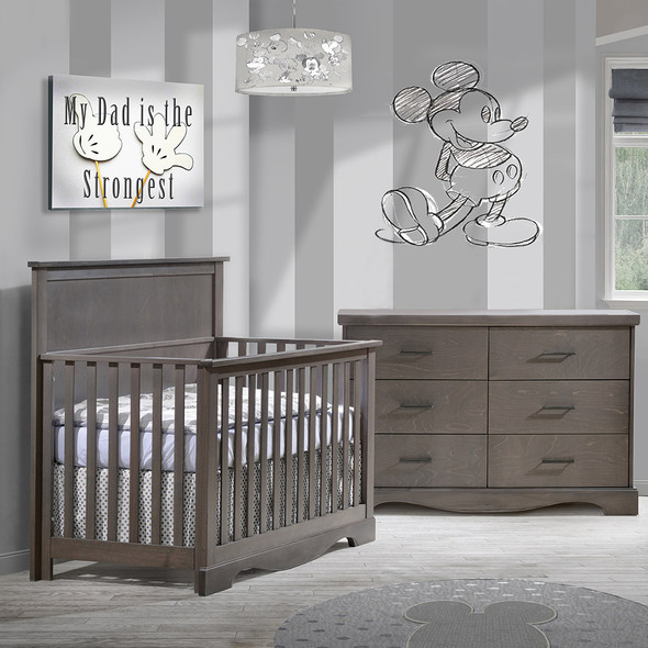 NEST Matisse Collection 2 Piece Nursery Set Crib and Double Dresser in Grigio
