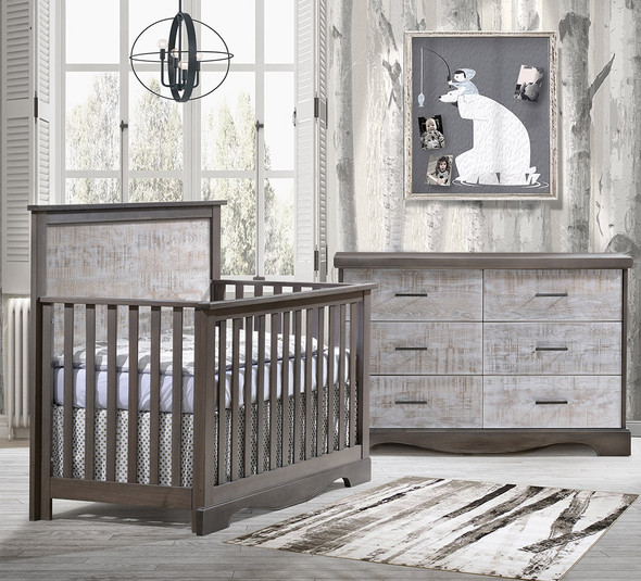 NEST Matisse Collection 2 Piece Nursery Set Crib and Double Dresser in Grigio and White Bark