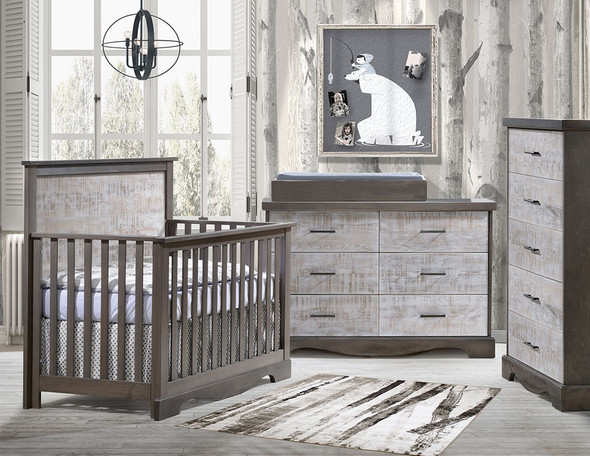 NEST Matisse Collection 3 Piece Nursery Set in Grigio and White Bark