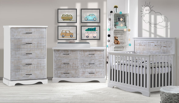 NEST Matisse Collection 3 Piece Nursery Set in White and White Bark