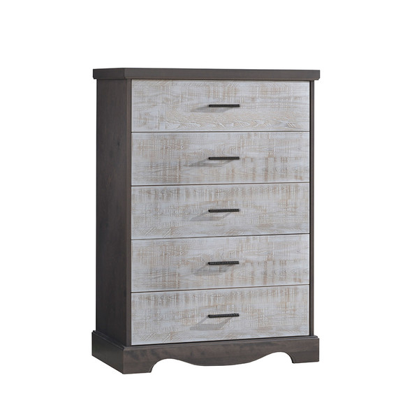 NEST Matisse Collection 5 Drawer Dresser in Grigio and White Bark