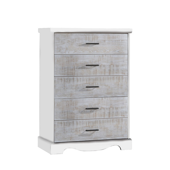 NEST Matisse Collection 5 Drawer Dresser in White and White Bark
