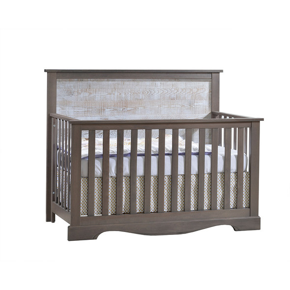 NEST Matisse Collection 5 in 1 Convertible Crib in Grigio and White Bark