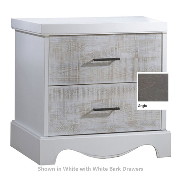 NEST Matisse Collection Nightstand in Grigio and White Bark