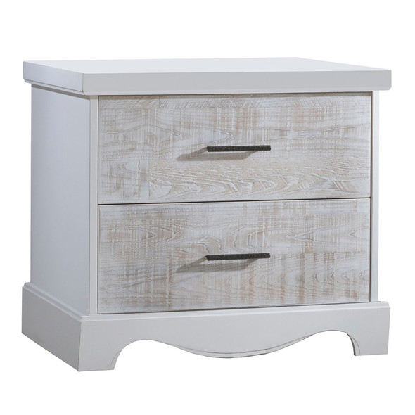 NEST Matisse Collection Nightstand in White and White Bark