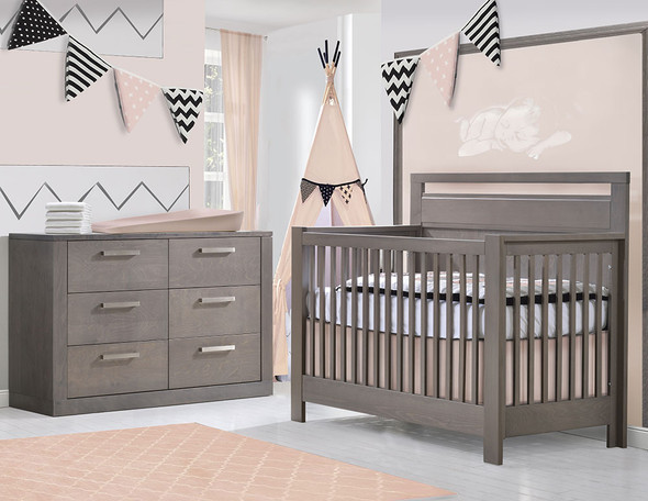 NEST Milano Collection 2 Piece Nursery Set Crib and Double Dresser in Grigio