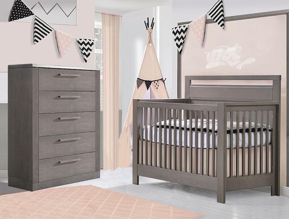 NEST Milano Collection 2 Piece Nursery Set Crib and 5 Drawer Dresser in Grigio