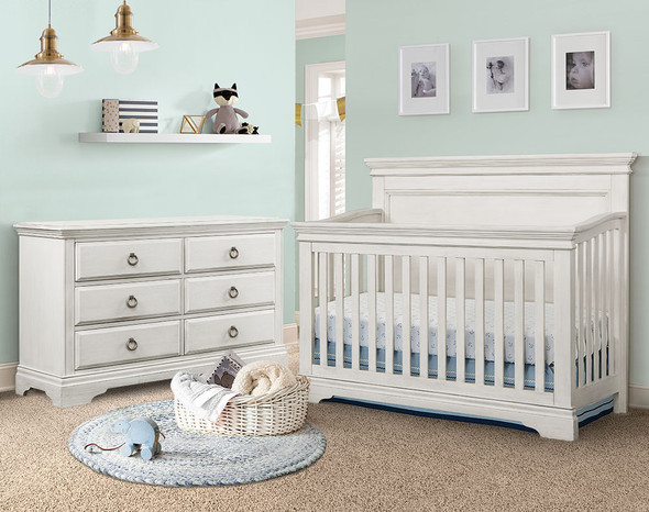 Westwood Riley Collection 2 Piece Nursery Set Crib and Double Dresser in Brushed White