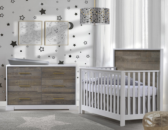 NEST Vibe Collection 2 Piece Nursery Set Crib and Double Dresser in White and Brown Bark