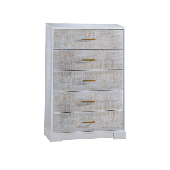 NEST Vibe Collection 5 Drawer Dresser in White and White Bark